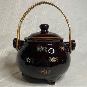 Glazed stoneware lidded bean pot wooden handle.
